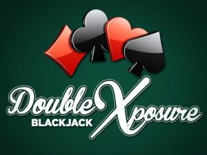 Double exposure blackjack table and card game